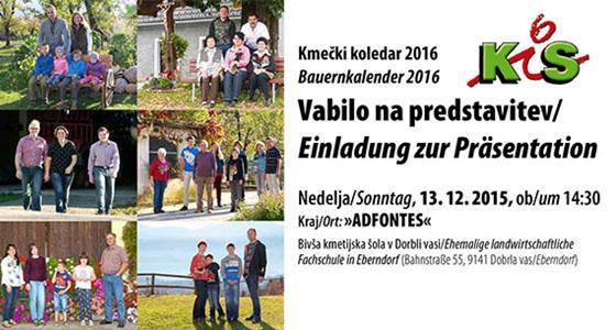 Vabilo na predstavitev Kmečki koledar 2016