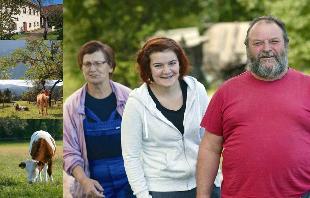 Alojz, Gerti in Mirijam Gallob, kmetija pri Mušetu