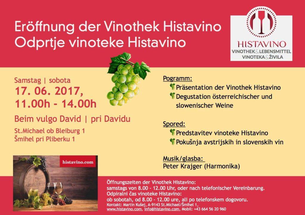 Vabilo na odprtje vinoteke HISTAVINO